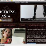 Free Mistressofasia.com Account Passwords